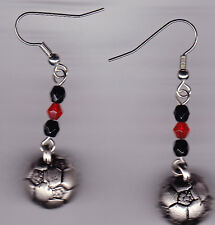 Soccer Ball Earrings-Silver Tone Charms-Red/Blk Swarovski Beads (Pick Your Color