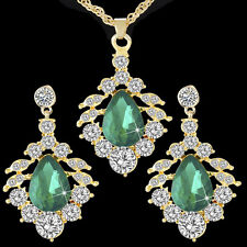 Lady Emerald 18K Gold Plated Jewelry Set CZ Waterdrop Pendant Necklace Earrings