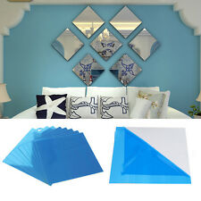 3X Square Mirror Tile Wall Stickers 3D Decal Mosaic Home Garden Decors Ornament