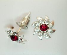 10mm Dark Red and Clear Crystal & Silver Tone Faceted Stud Earrings