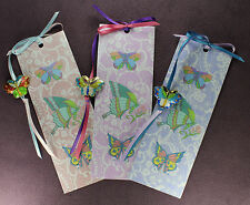 3 BUTTERFLY TOTEM BOOKMARKS Enamel Beads Ribbons Purple Blue Pink Insect Psyche