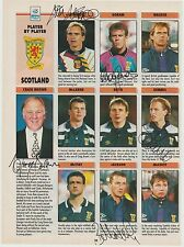 SCOTLAND UEFA 1998 ORIGINAL HAND SIGNED PEN PICTURES 12 X SIGNATURES