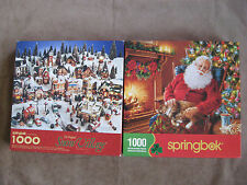 2 Springbok 1000 piece puzzles  Santa's Cat Nap + Snow Village
