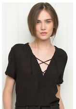 brandy melville black cropped v-neck Lace Up crisscross Ily top NWT  OS
