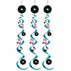 Rock and Roll Musical Whirls - Pack of 3 76 cm - 50's Party Ceiling Decoration