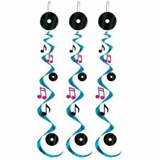 Pack of 3 Rock and Roll Musical Whirls - 76 cm - 50's Party Ceiling Decoration