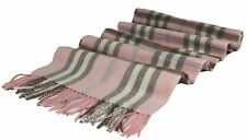 "New Classic Scottish Plaid 100% 2-Ply Cashmere Scarf Muffler 70""x11"", Baby Pink"