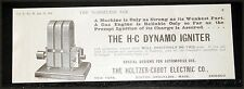 1900 OLD MAGAZINE PRINT AD, HOLTZER-CABOT DYNAMO IGNITER, FOR AUTOMOBILE USE!