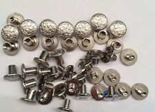 """20 Pack Fancy Floral Silver Chicago Screws 3/8"""" Belts Bridles Leather Craft NEW"""
