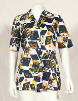60'S FRENCH VINTAGE PRINT PARTY TUNIC UK 12/14