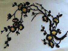 Sew on & iron on  patches(black& gold plum flower )