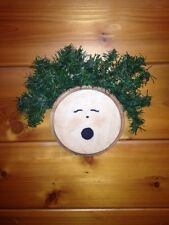 Christmas Rustic Country Painted Wooden Round Angel Face Greenery Wall Decor