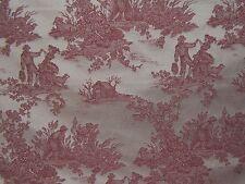 """Lee Jofa """"La Dande de la Recolte Toile"""" vintage fabric by the yard color red"""
