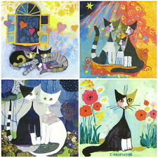 4x Single Table Party Paper Napkins for Decoupage Decopatch Craft Cat Mix R.W.