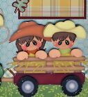 HAYRIDE ~ fall autumn boy or girl 2 premade scrapbook pages paper piecing CHERRY