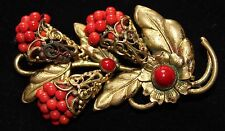 Czech coral coloured bead floral spray gold tone Art Deco brooch vintage