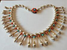 MIRIAM HASKELL SIGNED BAROQUE PEARL TURQUOISE & CORAL BEAD CLEOPATRA NECKLACE