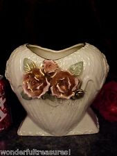 GORGEOUS Antique HEART SHAPE Vase Planter APPLIED ROSES LEAVES Capodimonte ITALY