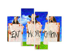 CANVAS PRINTS COWS EAT MORE CHICKEN WALL ART 4 PANEL FRAMED PICTURES FUNNY IMAGE
