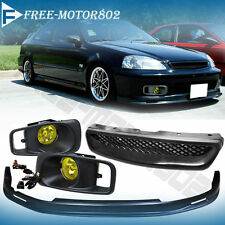 Fit 99-00 Civic Mugen Front Bumper Lip + Yellow Fog Light + Type R Hood Grill