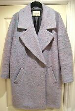 River Island Wool Blend Coat Jacket Oversized Boyfriend Pink Lilac Blue UK 10