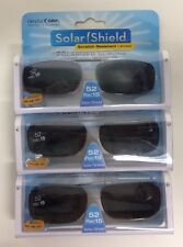 3 SOLAR SHIELD Clip-on Polarized Sunglasses 52 Rec 15 Black lens Full Frame