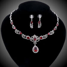 Silver Flowers Cubic Zircon Crystal Bridal Wedding Necklace Earring Jewelry Sets