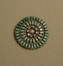 Vintage Zuni Petit Point Turquoise  inlay pin brooch pendant - Old/dead Pawn?
