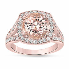 Pink Peach Morganite Cocktail Ring 14K Rose Gold 3.00 Carat Huge Halo Pave