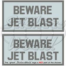 """BEWARE JET BLAST LowVis Aircraft USAF Vinyl Decals, Stickers 3"""" (75mm) x2"""