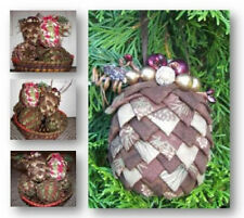~ NEW PATTERN ~ EASY TO MAKE ~ FOLDED FABRIC PINE CONE ~ CHRISTMAS ORNAMENT ~