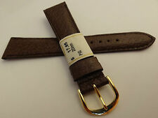 New ZRC Made in France Brown Pigskin 20mm Watch Band Gold Tone Buckle $17.95