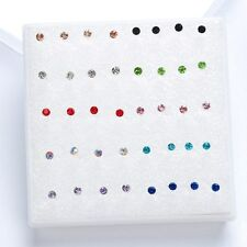 20 Pairs/pack 2016 Cute Korean Rhinestone Crystal Piercing Stud Earrings Blue
