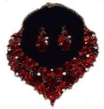 Parure Rouge Rubis Bijoux Fantaisie pour Mariage Soirée Fête