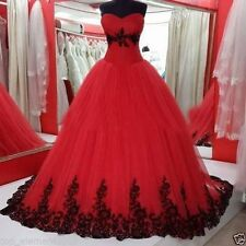 Gothic Ball Gown Wedding Dresses Black and Red Tulle Bridal Prom Gowns Plus SIZE