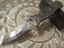Mtech Ballistic Assisted Chrome Dragon Stilleto Dagger Pocket Knife Ring Hole