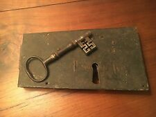 18th / 19th C Wrought Iron Lock and Key Door Barn Antique Primitive Blacksmith