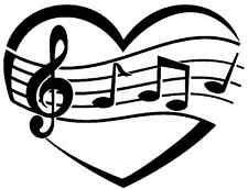 LOVE HEART MUSIC NOTES VINYL DECAL STICKER FOR CAR LAPTOP ETC.