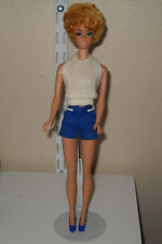 Beautiful Vintage Pale Pink Lipped Blonde Bubble Cut Barbie Doll W/Pak Clothes
