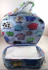 Nick and Nora 2 Cosmetic Bags Pigs Polka Dot Cow Paisley Flowers Sun Moon Stars