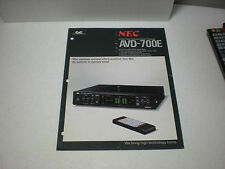 VINTAGE ORIGINAL NEC AVD-700E AUDIO/VIDEO SURROUND SOUND PROCESSOR 1pg BROCHURE