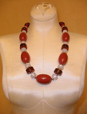 1970's Chunky Lucite Neckace by Monet in Shades of Red & White w/ Silver Accents