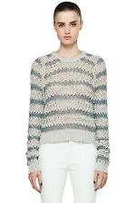 NWT $425 Theysken's Theory Koro C Sweater Striped Silver Grey [ Small ] #557