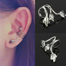 1pc Gothic Tibetan Silver Leaf Clip On Earring Ear Cuff Wrap No Piercing Jewelry