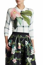 $195 NWT Ted Baker London Women's Agneya Print Sweater Pullover Size 1 TB/ 2 US
