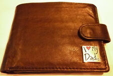 Black Leather Wallet with Silver Plated 'I Love My Dad'