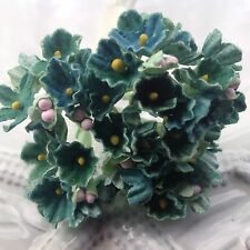 1 Bouquet Vintage Forget  Me Nots - Teal  - Wedding Flowers - Doll  - Millinery
