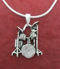 Pewter DRUM SET Necklace NEW Charm Pendant and Chain