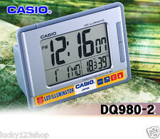 DQ-980-2 Blue Casio Clock Digital Led Light Thermometer Humidity Readings Alarm