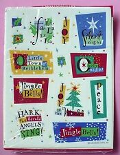 VINTAGE HALLMARK 13 STICKERS 1 SHEET CHRISTMAS SILENT NIGHT PEACE JINGLE BELLS